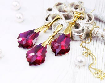 Ruby jewelry set, Ruby earrings, Swarovski earrings, Vintage earrings, Crystal earrings, Ruby pendant necklace Gold earrings Bridesmaid gift
