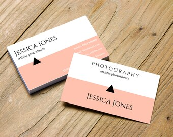 Pink and White business card horizontal with triangle