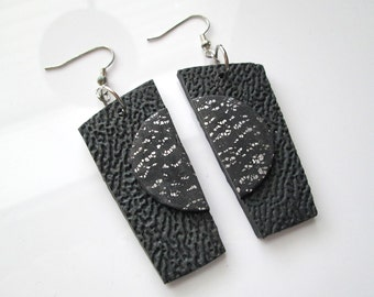 Handmade Black and Silver Earrings, Polymer Clay Earrings, Textured Earrings, Jewelry, Gift for Her, Mom Gift