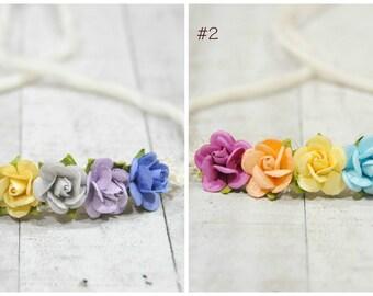 SALE- Rainbow baby, Newborn Headband, Tieback headband, Newborn photo prop, Newborn halo, Baby headband, baby photo prop