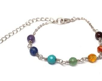 NEW! Chakra Bracelet, silver, real gemstones, adjustable, yoga, boho, womans, rocker, amethyst, citrine, turquoise, free worldwide shipping!