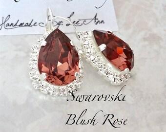 Swarovski Blush rose crystal earrings Halo crystal earrings Brides Bridesmaids Wedding earrings Blush Wedding Bridal Jewelry Burgundy SOPHIA