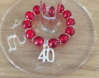 Handmade 40th wine glass charm