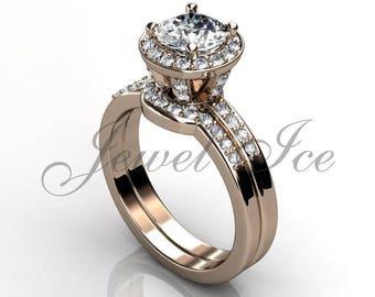 Engagement Ring Set - 14k Rose Gold Diamond Unique Wedding Band Engagement Ring Set Bridal Set Anniversary Ring Wedding Ring ER-1132-3