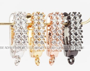 Double cz Stud,CZ Micro Pave  Latch Back Earring Wires, Leverback ear wires, Huggie ear wire,cubic zirconia micro pave earrings,16mm, 1 pair