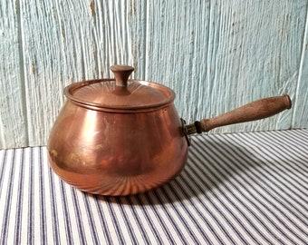 Retro cuivre Fondue Pot, Pot de cuisine en cuivre, manche en bois de cuivre Vintage Pan cuisson casserole, casserole en cuivre,