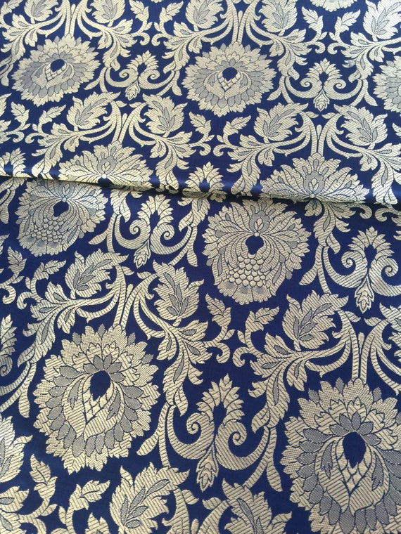 VALENTINE sale 30% OFF Silk Brocade Navy Blue and gold Fabric ...