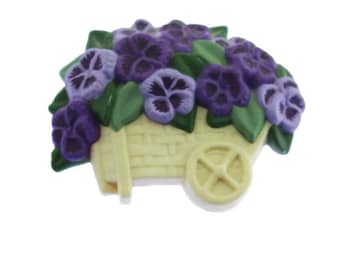 Purple Violet Brooch, Purple Pansy Brooch, Vintage Purple Flower Brooch, Flower Basket Brooch, Purple Flower Pin