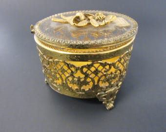14k Gold Plated Filligree and Glass Ornate Trinket Box