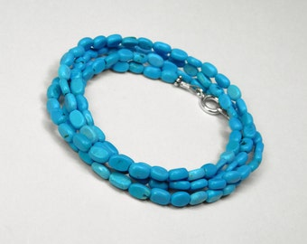 "Turquoise 30"" Wrap Bracelet or Necklace in Silver"