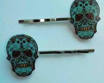 Turquoise Sugar Skull Bobby Pins
