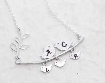 SWEET BIRD Necklace, FAMILY Love Bird Necklace Personalized . Engrave Necklace, Birds charm. Family jewelry, MonyArt Original design
