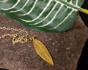 Small Gold Feather Charm on Shiny Gold Chain Necklace