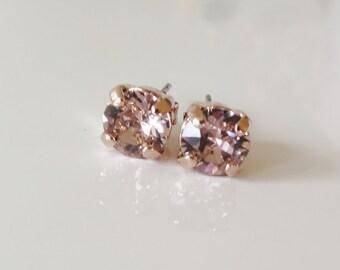 Valentine's gift,Rose Gold ear studs,Blush Stud Earrings,Blush studs,Rose Pink stud,Minimalist studs,Bridal Stud Earrings,Swarovski® 6mm