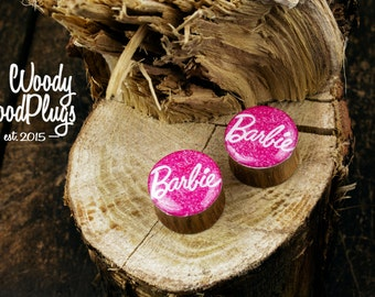 Barbie Plugs - Barbie wood ear plugs - organic ear gauges - pink plugs gauges 00g plugs 7/16 9/16 5/8 11/16  1'' 28mm 30mm 32mm 35mm 38mm
