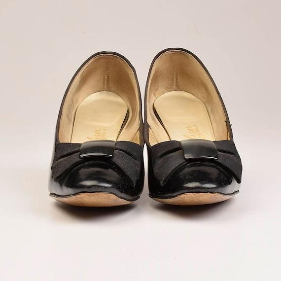 Closed sz Leather Toe Black Grosgrain Patent Bow 60s 6 Vintage Heels Pumps Shoes TAOYST