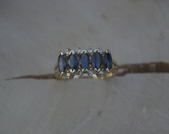 14kt Gold Sapphire & Diamond Ring Size 7 1/2