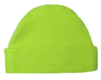Lime Green Capped Baby Hat. 100% Cotton Knit. Double Thick with a Built in Cap to Stay on Baby's Head. Preemie, Newborn to 6 Months