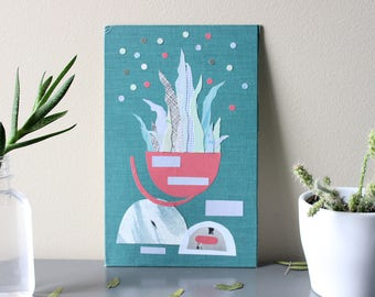 Original Paper Collage on Book Cover - Abstract Potted Plant - Ready to Hang