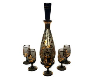 Mid Century Decanter Set, Decanter, Cordial Glasses, Stemware, Black and Gold