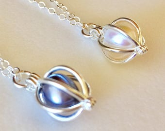 Pearl Cage Necklace, Genuine Freshwater Pearl, June Birthstone, Bridal Jewelry, Sterling Silver