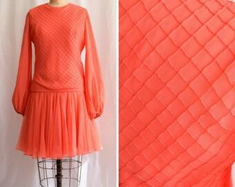 "1960s Dress | Coral Diamonds | Vintage 60s I. MAGNIN Silk Chiffon Dress Pin-tucked Bodice Drop Waist Flirty Skirt Gathered Sleeves Bust 36"""