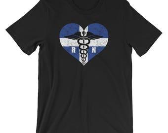 Greece Registered Nurse Flag T-Shirt, Greek RN Nurse Caduceus Symbol Souvenir Tee Shirt, Caduceus In Greece Heart Logo Shirt Gift