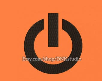 Power Off Button Embroidery Design - 5 Sizes - INSTANT DOWNLOAD