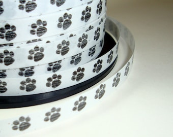 Paw Print Ribbon, Dogs, Black and White, Pets  (94-12)