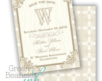 WEDDING ANNIVERSARY Gold and Cream Printable Party Invitation or Save the Date - Printing Available