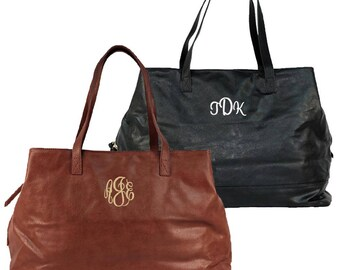 Monogrammed Black Shoulder Bag Personalized Brown Tote Bag Travel Tote Bag Veagan Leather Tote Black and Camel Cambridge Tote Travel Bag