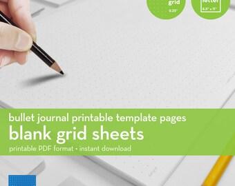 Blank Grid Sheets   Bullet Journal Printable Template   Dot grid   Letter size