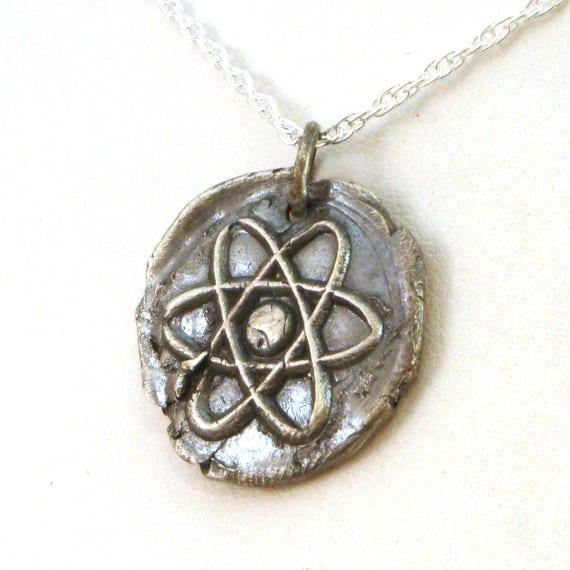 Atom necklace atomic necklace science jewelry atheist aloadofball Choice Image