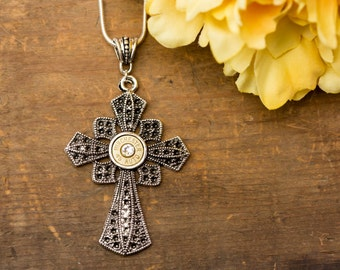 Bullet Casing Jewelry - Architectural Cross Bullet Necklace (45)