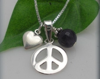 Peace Love and Happiness Charm Necklace - Sterling silver heart charm, peace sign  charm and chain with amethyst accent
