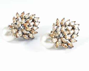 Champagne Zirconia Earrings with White Pearl Drop