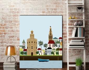 Seville print,city print,cities,cityscape,sevilla digital,printable illustration,living room art,nursery decor,Spain print,5 sizes included
