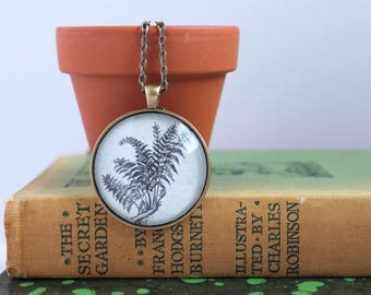 dictionary necklace - book page jewelry -  book club gift idea - gardener necklace - booknerd Christmas - farmer gift - florist gift - fern