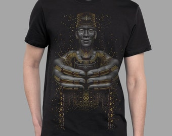 Ayahuasca shaman shirt for men in black - SECOND CUP - shipibo shaman men's t-shirt, visionary art print with glow in the dark ink.