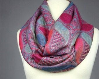 Large Paisley Pink Blue Women Infinity Scarf,Spring Fall scarf,Scarf And Cowl,Gifts For Her,Gifts For Mother,Woven Scarf,Christmas Gifts
