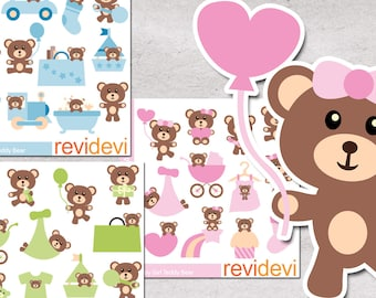 Teddy bear clipart sale bundle / cute teddy bear, baby shower clip art commercial use, digital images, nursery decor, pink blue green