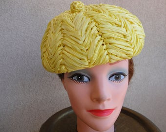 Yellow Raffia Straw Hat