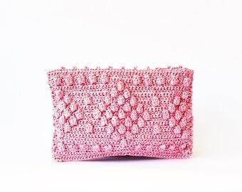Pink straw beach clutch woven bag raffia summer purse top zip straw bag beach party clutch crochet raffia bag pink clutch straw beach pouch