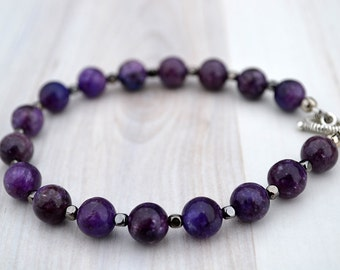 Lepidolite bracelet, Violet lepidolite bracelet, Lepidolite gift, Lepidolite jewelry, Lepidolite purple gift, Violet lepidolite beaded.