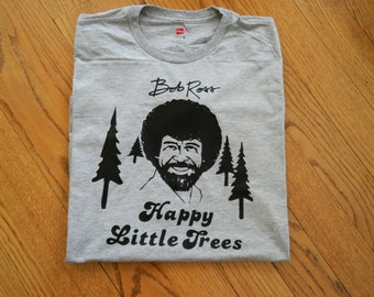 Custom Bob Ross T-shirt; Happy Little Trees shirt;Gift for Bob Ross Fan; Bob Ross Birthday gift; Custom Bob Ross shirt, Retro TV shirt