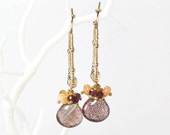 Lepidochrosite hoop earrings - Dangle cluster Lepidochrosite, Garnet and Ethiopian Opal earrings in gold filled, Boho chic earrings