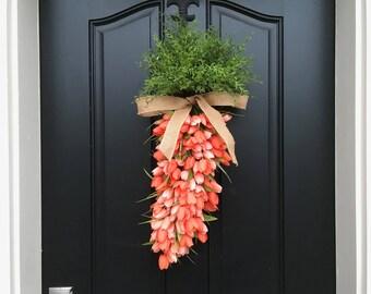 Carrot Door Wreath, Easter Carrot Wreath, Orange Carrot Decor, Easter Door Wreaths, Spring Door Decor, Front Porch Wreath, Orange Tulips