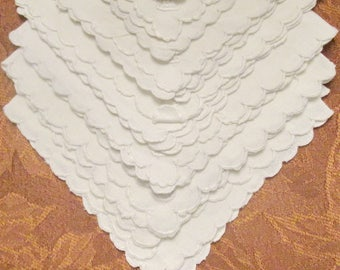 Seven Small Vintage Napkins - Embroidered White Luncheon Napkins - Embroidery and Cutwork