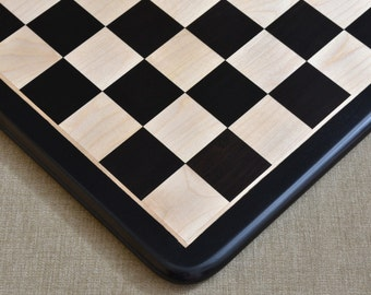 """Wooden chess board in Ebony/Box Wood from India 19"""" - 51mm squares. SKU: D0181"""