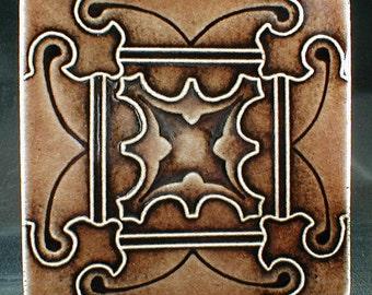 Wall tile, butterfly geometric design, fireplace tile, backsplash, art tile, accent tile, handmade tile, cuenca
